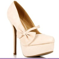 Nude Mary Jane Bow Pump