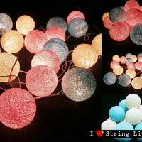 Soft and Sweet Colour Set Cotton Ball String Lights For Wedding and House decoration (20 Flowers/Set)