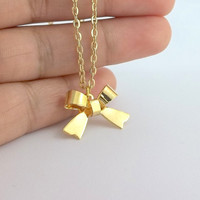Gold Bow Necklace - 24K gold plated bow