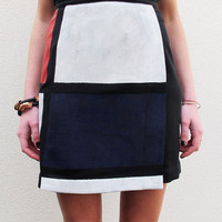 Mondrian Colour Block Cubist Skirt