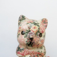 Kitsch Floral Ceramic Cat