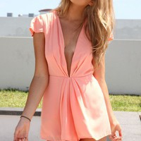 Peach Mini Playsuit with Plunging Neckline