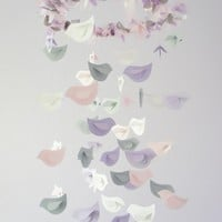 Nursery Decor Mobile- Lavender, Baby Pink, Gray, & White Birds