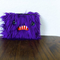 Small Purple Monster Pouch Teal Eyes by ShopGhoulieGirls on Etsy