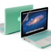 "3 in 1 Robin Egg Blue Turquoise Matte Rubber Coated See-Thru Hard Case Cover for Aluminum Unibody 13.3"" inches Macbook Pro"