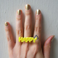 $5.46 Adjustable Ring  Vintage Word Charm by theTriangleOfBears on Etsy