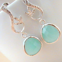 Silver Mint Earrings, Blue Earrings, Leaf Charm, Twig Pendant, Aqua, Green, Teal, Bestfriends Gift, Bridal Earrings by Crystalshadow on etsy
