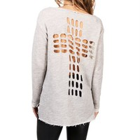 Grey Cross Back Sweat Shirt