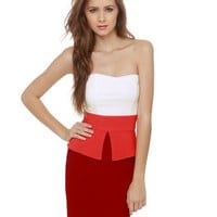 Cute Strapless Dress - Red Dress - Color Block Dress - $37.50