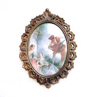 1950s Brass Framed Print Art Wall Hanging