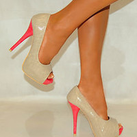 LADIES CREAM BEIGE CORAL PINK PEEP TOES PATENT PLATFORM HIGH HEELS SHOES 3-8