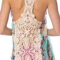 Crochet Back Chiffon Tank - Aqua from Casual & Day at Lucky 21 Lucky 21
