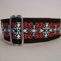 Celtic Scroll Martingale Collar, Black, Red, Jacquard, Celtic Scroll, Greyhound Collar, Dog Collar, Nosework, Greyhound Martingale