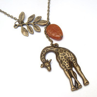 Antiqued Brass Giraffe Leaf Honey Jade  Necklace by gemandmetal