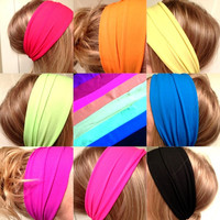 Choose One Yoga Hipster Scarf Hair Headband Neon Pink Blue Green Yellow Orange Stretch Elastic Comfortable Non-Marking DOLLAR SHIPPING US