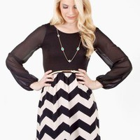 Compare and Contrast Chevron Print Dress @ FrockCandy.com