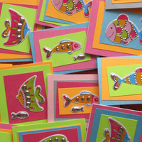 Fish or dog Mini Cards (set of 5) neon