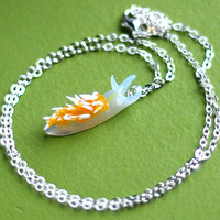 Nudibranch Necklace, Orange Sea Slug - Hermissenda Crassicornis