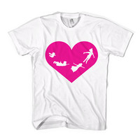 You Can Fly T-Shirt Peter Pan Heart - American Apparel Unisex Sizes S, M, L, XL - Custom Color