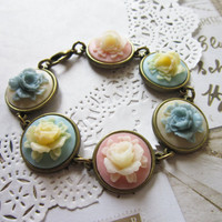Pastel Regency Cameo Lolita Bracelet by evelynadams on Etsy