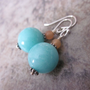 Blue Amazonite Gemstone Earrings with Peach Aventurine Gemstone Accents. 925 Sterling Silver. OOAK / One of a Kind. Spring / Summer Fashion