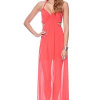 Maxi&#x27;d Out Halter Dress in Coral :: tobi