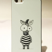[grlhx110014]Cute Cartoon Zebra Hard Cover Case For Iphone 5