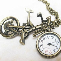 bicycle Pocket Watch Necklace (bike can stand itself and the handrail can moveable )with handgun charm