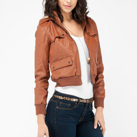 Friends Faux-ever Hooded Jacket in Cognac :: tobi