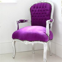 penelope purple and silver louis armchair by out there interiors | notonthehighstreet.com