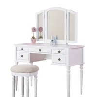 Bobkona St. Croix Collection Vanity Set with Stool, White: Home & Kitchen