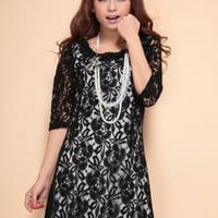 Black Flower Collar Lace Dress S010492