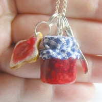 Jelly/Jam Sandwich Cluster Pendant Necklace  Miniature by NeatEats