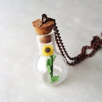 Sunflower in Miniature Jar Necklace on Copper Chain