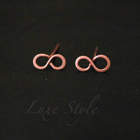 Infinity Ear Rings Post Copper Metal Wire Jewelry Handmade Contemporary modern Luxe style