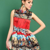 Retro Printed Puff Dress S010521