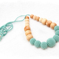 Juniper Nursing Necklace / Teething Necklace with mint green crochet beads