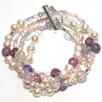Pearl Cuff Bracelet Pink Purple Sparkle Rhinestone Fizz Candy Signature Multistrand Bracelet Mother's Day Gift