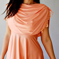draped CAPE dress /  peach 1970s grecian party by vintagemarmalade