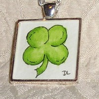 Four Leaf Clover Shamrock Original Watercolor Art Pendant Necklace | Luulla