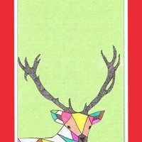 Personalized iPhone 4 Case, Geometric Deer, colorful deer elk anklets iphone hard case for iphone 4, iphone 4S-plastic Iphone cover