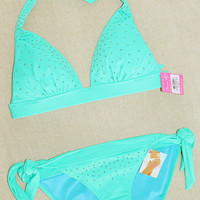 New Victoria's Secret Rhinestone Embellished Push Up Bikini Swimsuit S XS