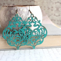 Large Patina Earrings, Teal Filigree Dangle Earrings, Large Drop Lacy Blue Aqua, Verdigris, Turquoise, Rustic, Patina Jewelry, Boho Chic