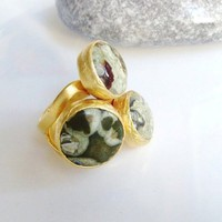 Lace Agate stone triple circle GOLD RING | moonfairy - Jewelry on ArtFire