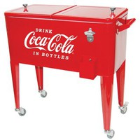 Old Fashioned Coca Cola Ice Chest Cart Cooler
