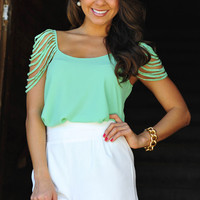 Cascading Waters Blouse: Mint Green | Hope&#x27;s