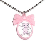 Mew Necklace, Pokemon, Kawaii Pastel Pink Cameo Necklace