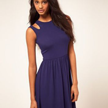 ASOS | ASOS Skater Dress With Cut Out Shoulder at ASOS