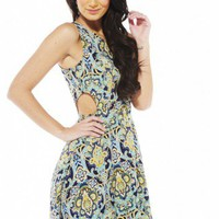 New Paisley Print Side Cut Out Dress