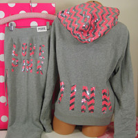 Victoria&#x27;s Secret L/M set ~Pink~ Zigzag Silver Bling Hoodie &amp; Signature Fit pant
